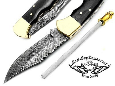 "Buffalo Horn 6.5"" Custom Handmade Damascus Folding Pocket Knife Review"